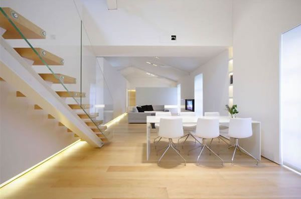 Minimalist Loft with White Finished Walls in Como, Italy