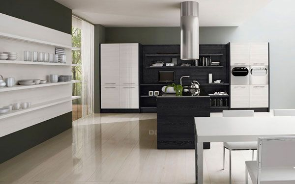 Black white kitchen4 minimalist black white kitchen design by futura
