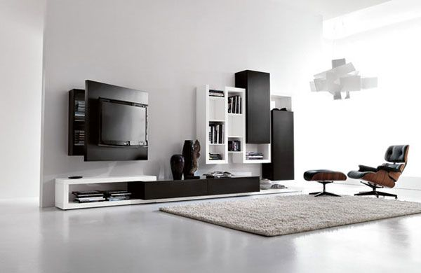 Black and white living room furniture with functional tv stand creative side system by Fimar 2 Creative Renovation: Modern with a Side of Ranch by Hufft Projects