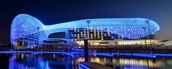 The YAS Hotel by Asymptote Architecture 600x243 The Largest LED Architecture Project in The World: Yas Hotel in Abu Dhabi