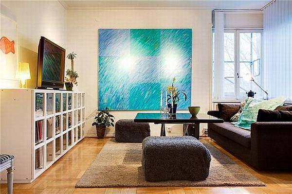 Art and Good Taste in A Flat: Turquoise Themed Apartment in Sweden