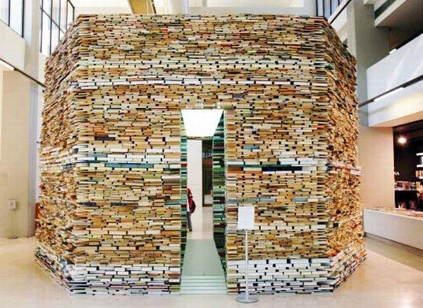 Unusual Bookcase: Book Cell, A Building Made Entirely Out of Books