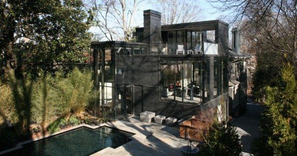 dark glass house 1 A Place Combining Glass and Darkness: the Ansley Park Glass House in Atlanta