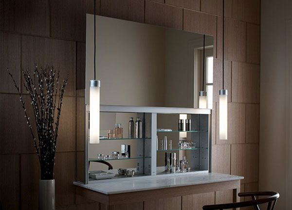 bathroom cabines with a sleek mirrored door that opens upward rh freshome com diy bathroom mirror storage cabinet