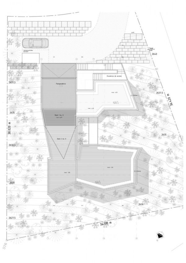 1269284515 roof plan 707x1000 V House, Geometry and Fabulous Architecture Near Bogota