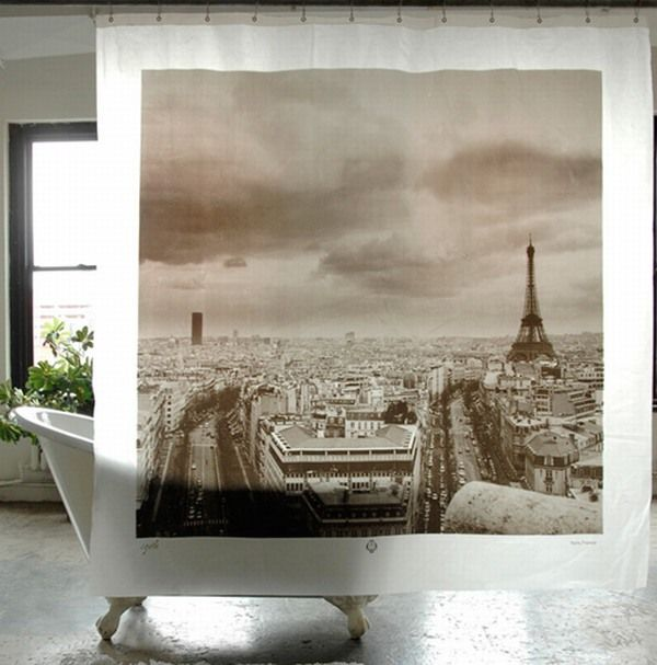 Shower Curtains Imprinted With Famous World Destinations