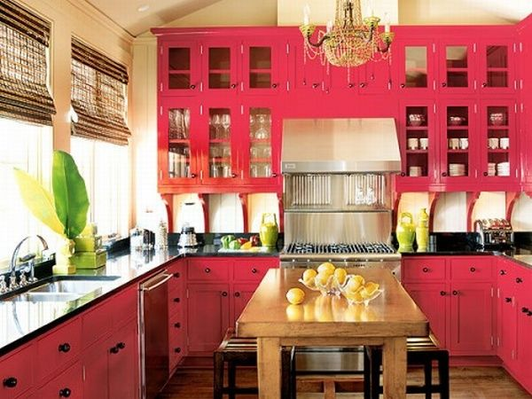 Exotic-Modern-Kitchen-Design-with-Pink-Cabinets-Sink-Oven-Table-with-Chairs