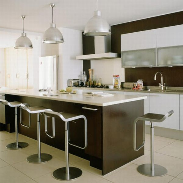 Luxury-Kitchen-Island-Design-with-White-Cabinets-Brown-Island-with-White-Countertop-with-Barstools-White-Tiled-Floor