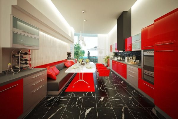 Luxury-narrow-kitchen-design-with-wonderful-tiles-flooring-glossy-red-kitchen-cupboards-contemporary-sofa-kitchen-chairs-table-and-lamps