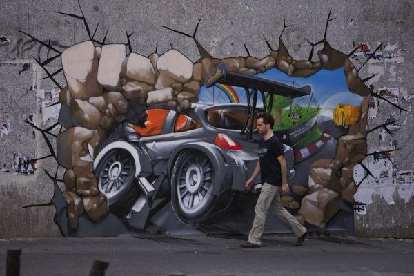 carcrash2 Get in the Game! Beautiful 3D Promotional Street Art