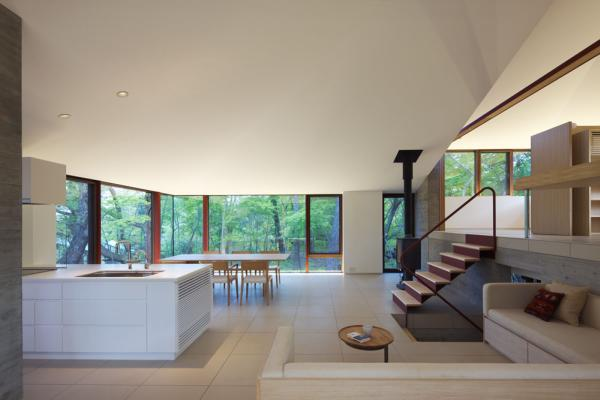 interior1 VILLA K, a Contemporary Hilltop Residence in Japan