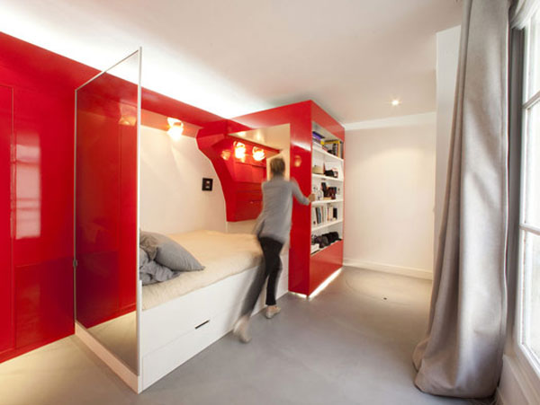 coudamy nest 01 thumb 525xauto 16080 Red Nest, an Incredible 23 Square Meter Apartment in Paris