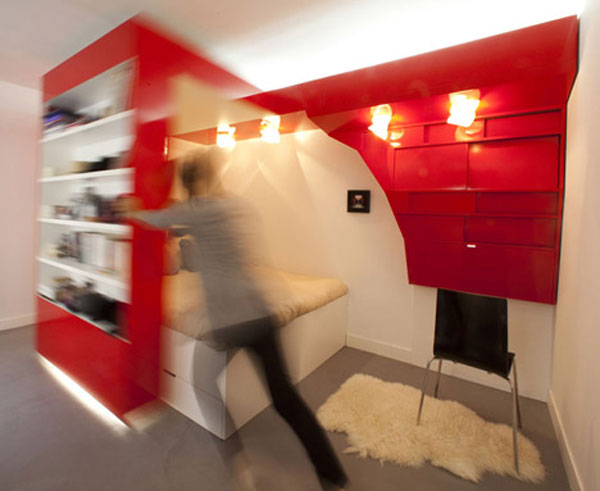 coudamy nest 03 Red Nest, an Incredible 23 Square Meter Apartment in Paris