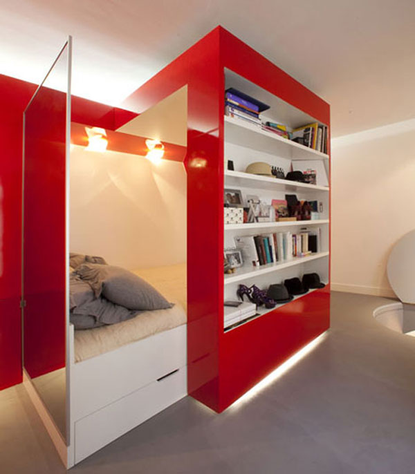 Red Nest, an Incredible 23 Square Meter Apartment in Paris