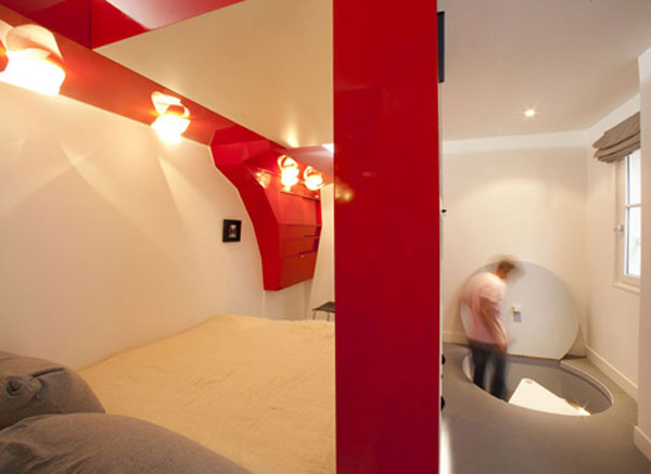coudamy nest 06 Red Nest, an Incredible 23 Square Meter Apartment in Paris