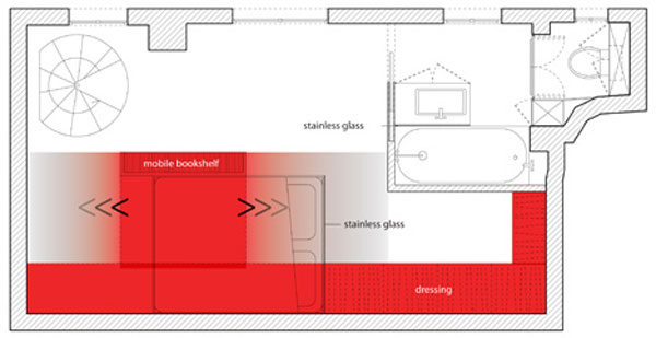 coudamy nest plan Red Nest, an Incredible 23 Square Meter Apartment in Paris