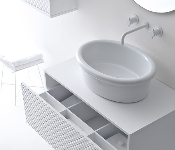 Coco collection for bathrooms 2 Gorgeous Textured Bathroom Furniture in Black and White from Falper