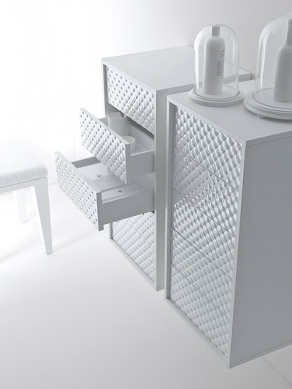 Coco collection for bathrooms Gorgeous Textured Bathroom Furniture in Black and White from Falper