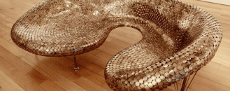Audacious Sofa Made from Coins by Johnny Swing