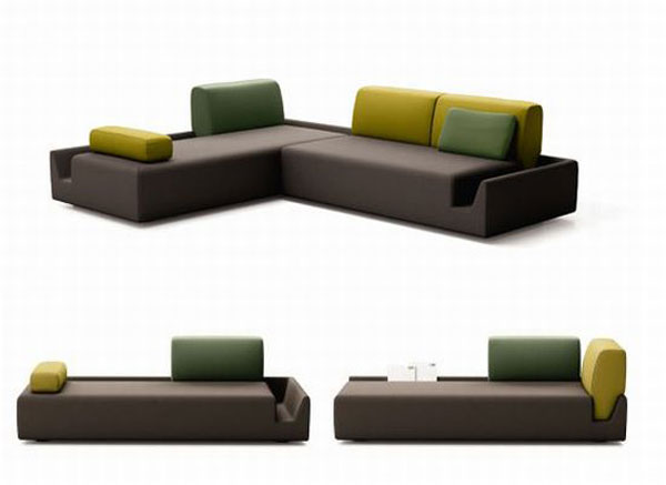 Elegant and Contemporary Sofa with Detachable Back Rests