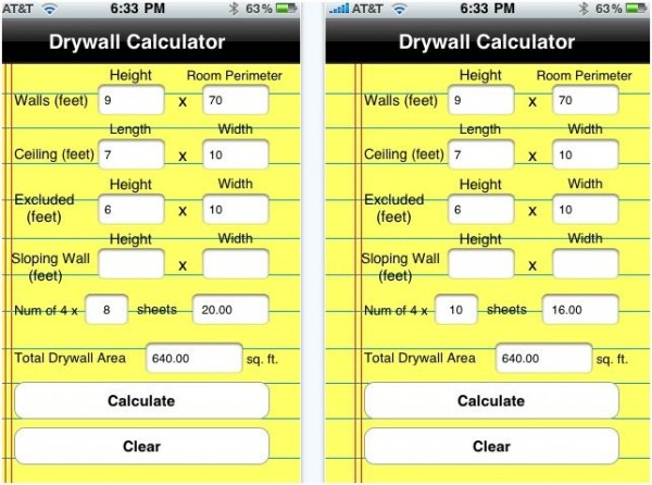 iphone drywall calculator e1288885737411 20 Best iPhone Home Improvement Apps to Help you Do it Yourself