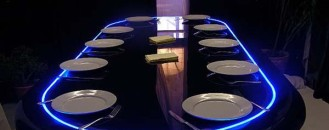 Luxurious Dining Table Easily Turns into a Poker Table