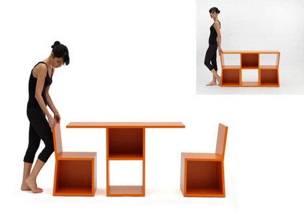 Unusual Shelving System Turns into a Table: Trick Bookcase