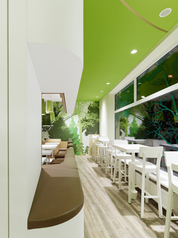 Wienerwald Restaurant Design 13 Fresh Restaurant Design Displaying Bold Natural Colours and Fun Forest Graphics
