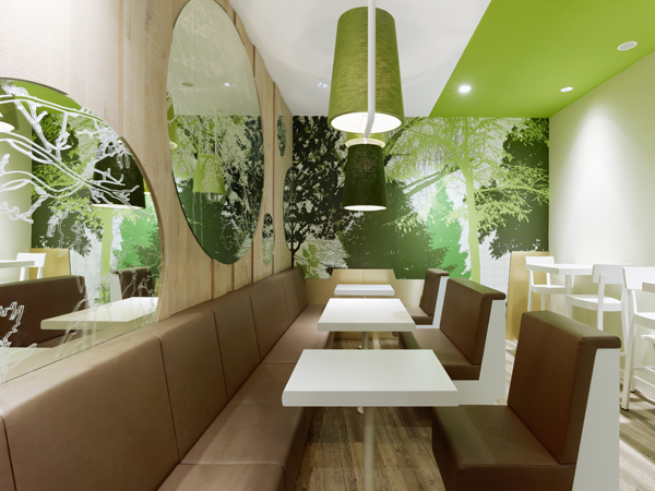 Wienerwald Restaurant Design 8 Fresh Restaurant Design Displaying Bold Natural Colours and Fun Forest Graphics