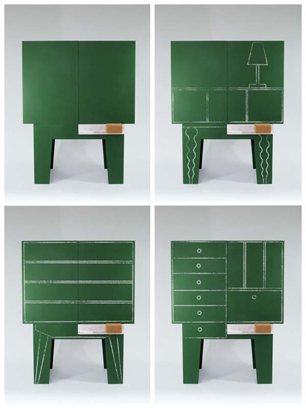 CUSTOMISABLE AND EVER CHANGING CABINET BLACKBOARD BY PETER