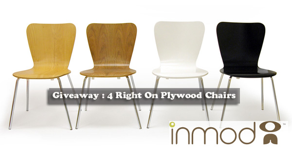 Giveaway : Win 4 Right On Plywood Chairs Offered by Inmod