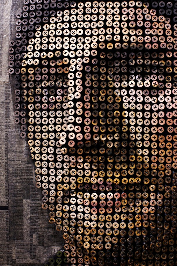 portraits Freshome 03 Drilling Thousands of Screws for Unusual 3D Mural Portraits