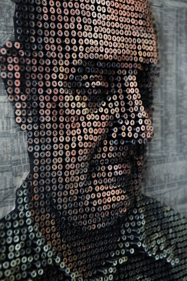 portraits Freshome 06 Drilling Thousands of Screws for Unusual 3D Mural Portraits