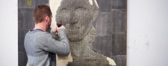 Drilling Thousands of Screws for Unusual 3D Mural Portraits