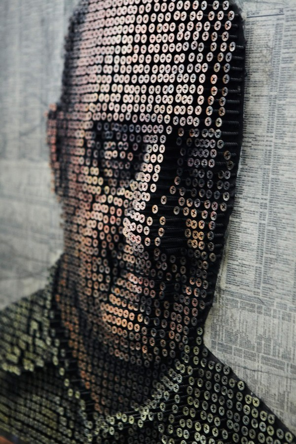 portraits Freshome 12 Drilling Thousands of Screws for Unusual 3D Mural Portraits