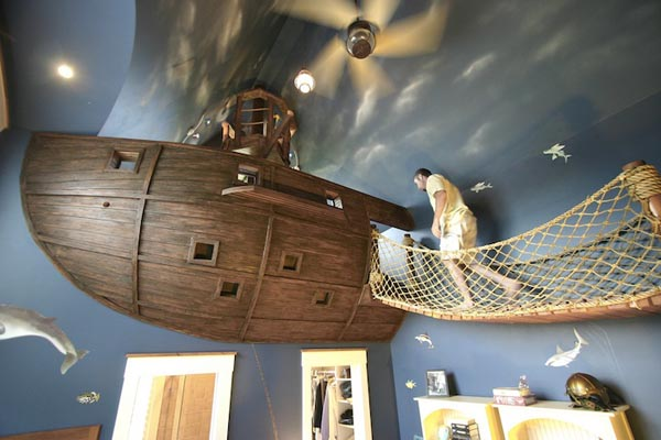 PirateShipBedroom1 Unique Bedroom Design by Steve Kuhl Featuring a Pirate Ship