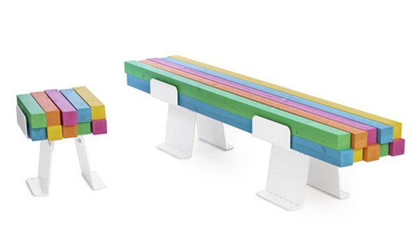 colorful bench Freshome 01 Original and Colorful Approach to the Classic Bench: Pylon