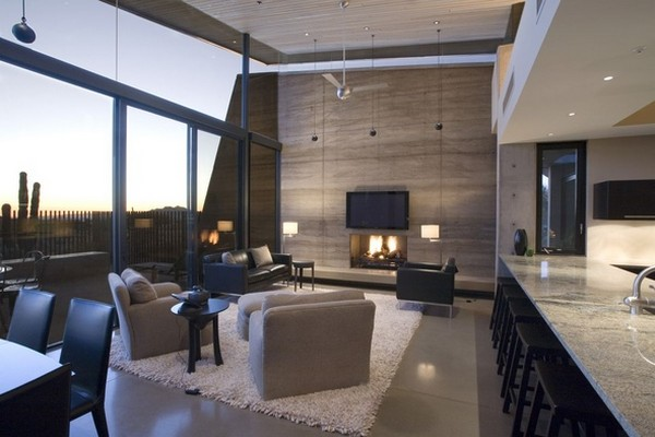 modern villa Freshome 16 Remote, Modern and Impressive: Desert Wing Residence in Arizona
