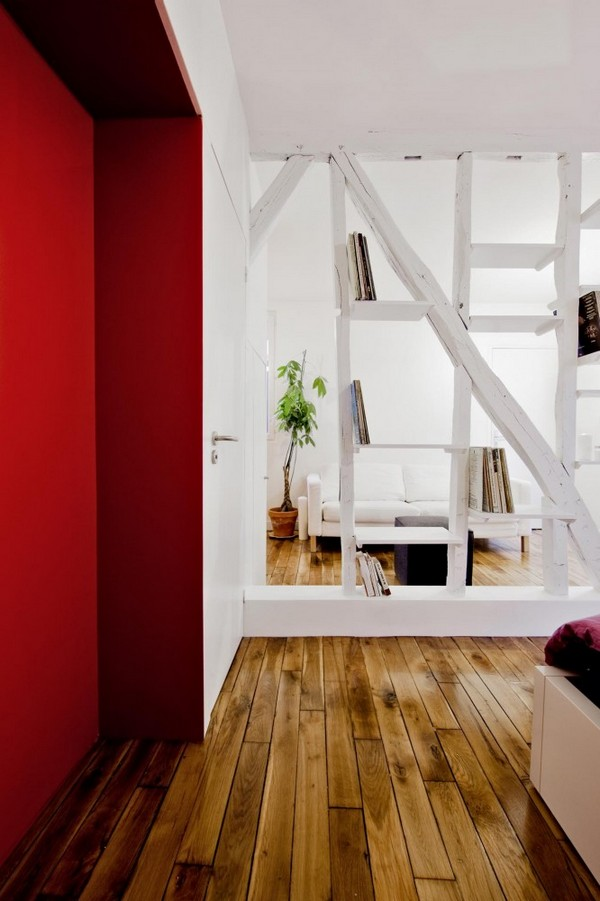 montmatre apartment Freshome 052 Surprisingly Small Apartment in Paris with a Charming Red&White Interior