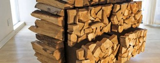 Rustic Chest of Drawers Resembling a Stack of Firewood