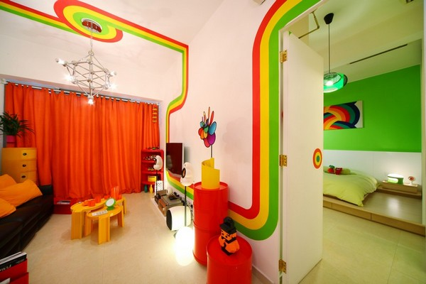 Fresh Apartment With Vivid Colors In Hong Kong The
