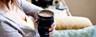 Canon and Nikon Coffee Mugs That Zoom Out When Needed