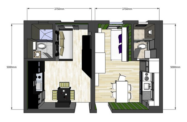 20 Square Meters House: Lovely Twin 20sqm Apartments With A Clever Design