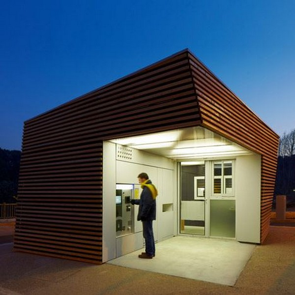 Timber Cabin to House Parking Ticket Machine by Jean-Luc Fugier