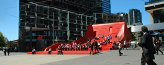 Red Stair and Vent Sculpture in Melbourne by Marcus O'Reilly Architects