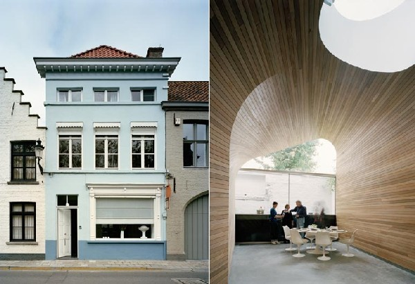 Arches and Timber Planks Creating Original Architecture: Vault Room in Belgium