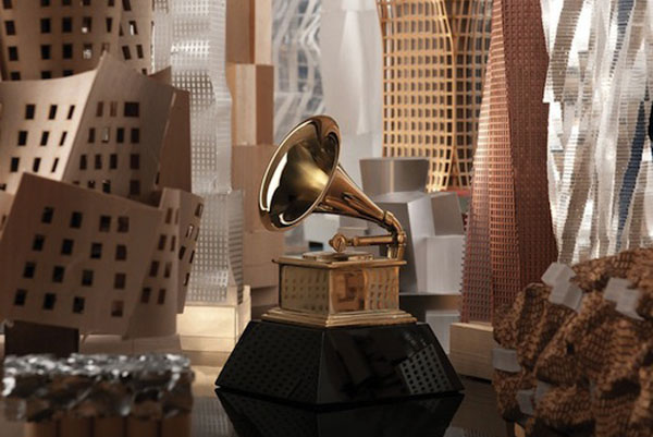 Warped Buildings Featured in the 54th Annual Grammy Awards Poster by Frank Gehry