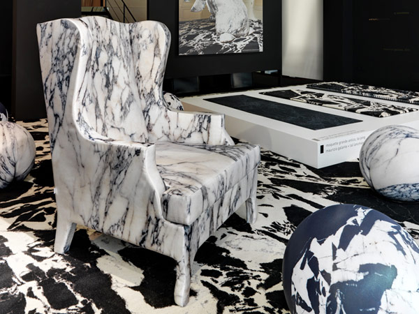Unusual Soft Marble Armchair by Maurizio Galante