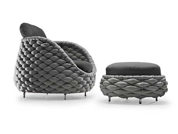 Rapunzel Chair and Pouf Collection by Kenneth Cobonpue