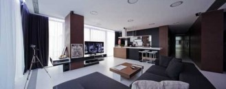 Romanian Penthouse Apartment In White, Black and Brown